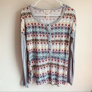 Sundance Aztec Patterned Thermal Button Henley